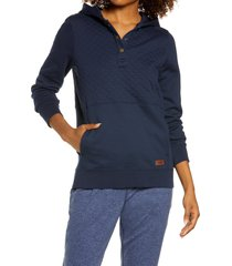 women's l.l.bean quilted hooded sweatshirt, size x-large - blue