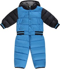 moncler light blue and blue babyboy overall with iconic patch