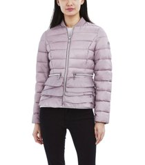 women's bomber jacket with ruffle bottom