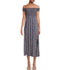 stellah women's floral off-the-shoulder dress - black - size l