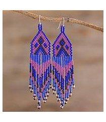 beaded waterfall earrings, 'peaks and valleys in purple' (el salvador)