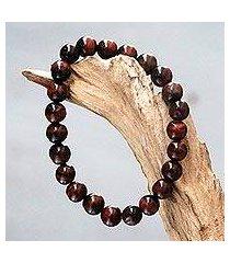agate beaded stretch bracelet, 'sanur chocolate' (indonesia)