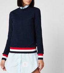 thom browne women's crew neck sweatshirt - navy - it 42/uk 10