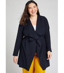 lane bryant women's belted tailored stretch flyaway jacket 14/16 night sky
