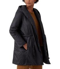 eileen fisher hooded drawstring-waist coat