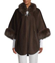 made for generation fox fur-trim wool & cashmere-blend cape