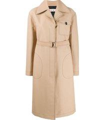 marni single-breasted duster coat - neutrals
