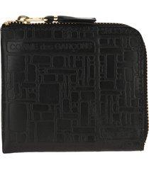 comme des garcons wallet embossed logo small zip wallet