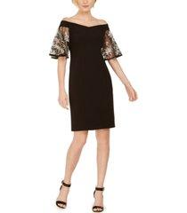 msk off-the-shoulder embroidered-sleeve dress