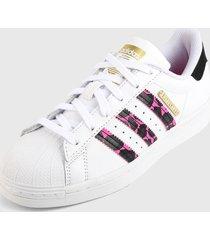 tenis lifestyle blanco-fucsia-negro adidas originals superstar