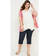 lane bryant women's lace-trim swing tank 26/28 ivory
