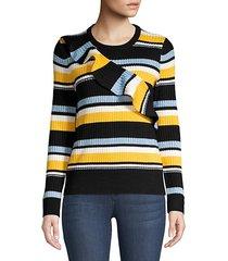 montego striped ruffle sweater