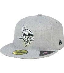 new era minnesota vikings heather black white 59fifty fitted cap