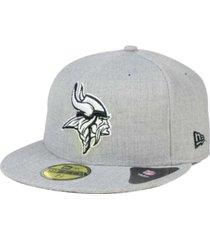 new era minnesota vikings heather black white 59fifty fitted cap