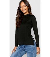 petite high neck soft knit side split tunic top, black
