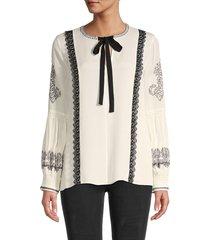 kobi halperin women's claudie tie-neck embroidered silk blouse - ivory black - size s