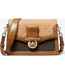 mk borsa a spalla jessie media in pelle con logo bicolore - bronzo/butrnt - michael kors