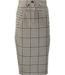 marine serre button check-print pencil skirt - black