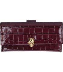 alexander mcqueen skull croco print leather wallet
