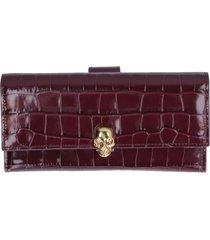 alexander mcqueen skull croco print leather wallet
