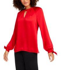 trina turk tie-sleeve keyhole blouse