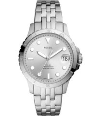 fossil women's blue diver silver-tone stainless steel bracelet watch 36mm