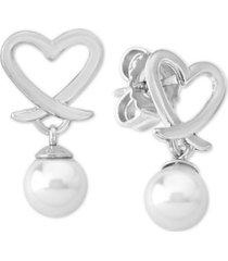 majorica imitation pearl (6mm) heart drop earrings in sterling silver