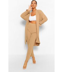 maxi duster jas & wide leg broek set, steenrood