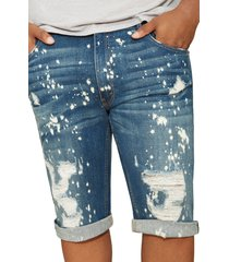 men's big & tall mvp collections painted roll cuff denim shorts, size 56 - blue
