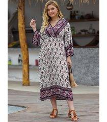 plus tamaño envoltura multicolor diseño mangas largas con cuello en v de paisley vestido