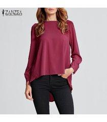 zanzea camiseta de gasa de manga larga para mujer camiseta plisada suelta blusa de túnica de talla grande -rojo