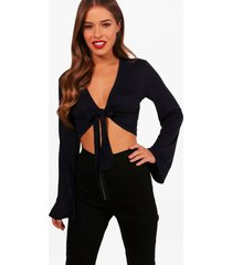 petite knot front flare sleeve top, navy