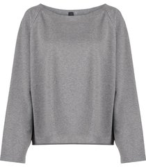 norma kamali drop-shoulder cropped sweatshirt - grey