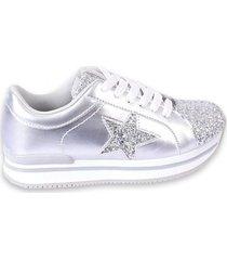 zapatilla plateada footy up plataforma estrellas glitter