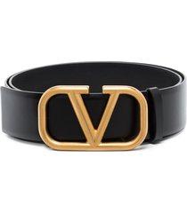 valentino garavani monogram leather belt - black