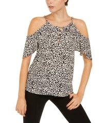inc animal-print cold-shoulder top, created for macy's
