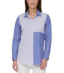 calvin klein mixed-stripe button-down shirt