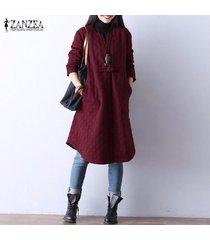 zanzea botón de manga larga de invierno de mujer chaqueta de abrigo informal suelta camisa vestido plus -rojo