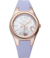 broadway - orologio cinturino lilla in policarbonato, cassa oro rosa per donna