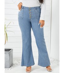 pantalones de mezclilla con diseño de botones y bolsillos laterales de talla grande