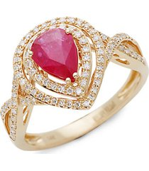 14k yellow gold, ruby & white diamond solitaire ring