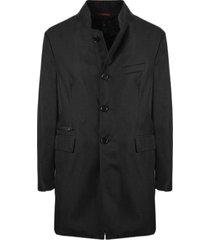 fay black technical gabardine coat