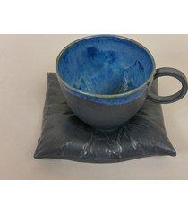 filiżanka na poduszce l - grafit błękit