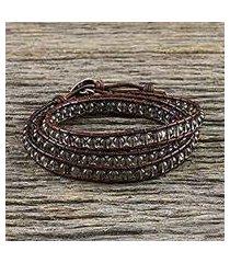 smoky quartz beaded wrap bracelet, 'spring smoke' (thailand)