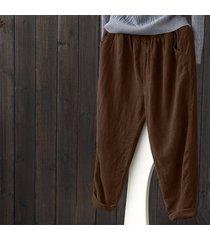 zanzea mujeres sólido tamaño pantalones básicos suelta más la altura de la cintura de los pantalones de algodón café -marrón