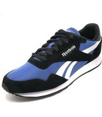 tenis running azul royal-negro-blanco reebok royal ultra