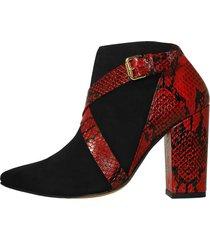 botines stivali marlin cuero ante negro x folia rojo