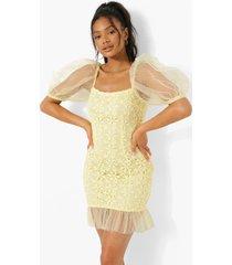 kanten mini jurk met vierkante hals en pofmouwen, yellow