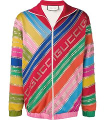 gucci crystal-embellished striped track jacket - 6057