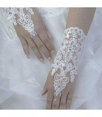 2017 hot ivory/white wedding fingerless lace bridal gloves with lace up